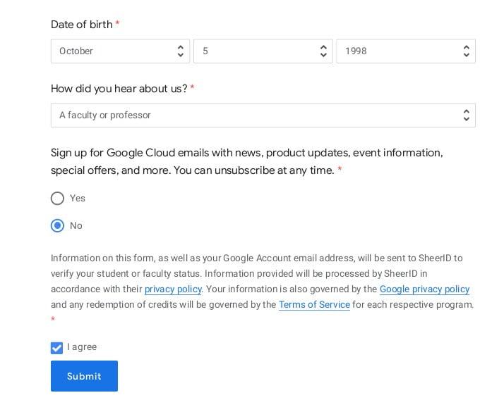 Get google cloud free