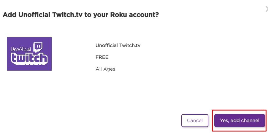 add twitch with roku