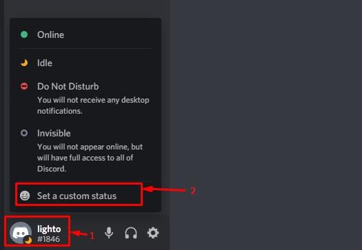 set custom status in discord