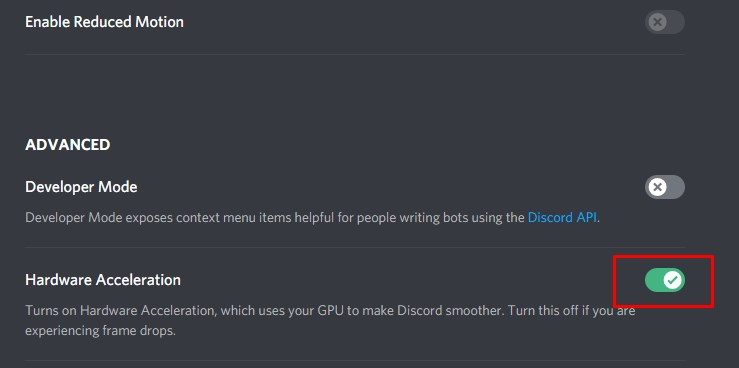 turn off hardware acceleration in discord