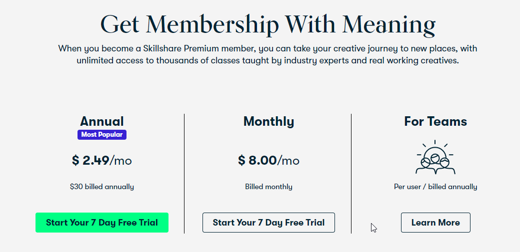 skillshare plans and pricing