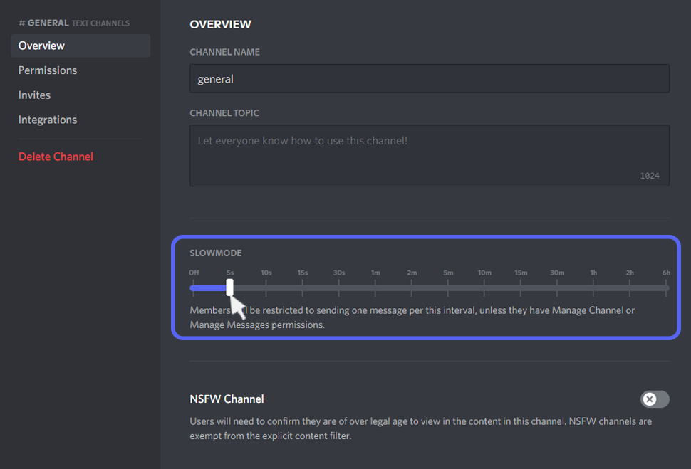 turn on discord slow mode from pc